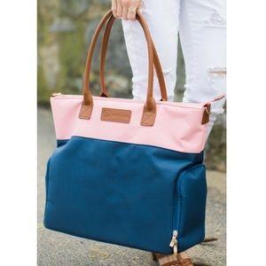 Sarah Wells Abby Pink Navy Pumping Bag